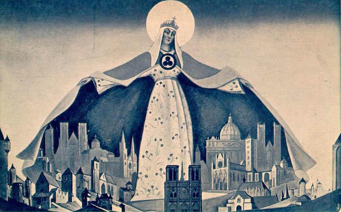 Н.К. Рерих. Мадонна Защитница. (Святая покровительница) 1933.